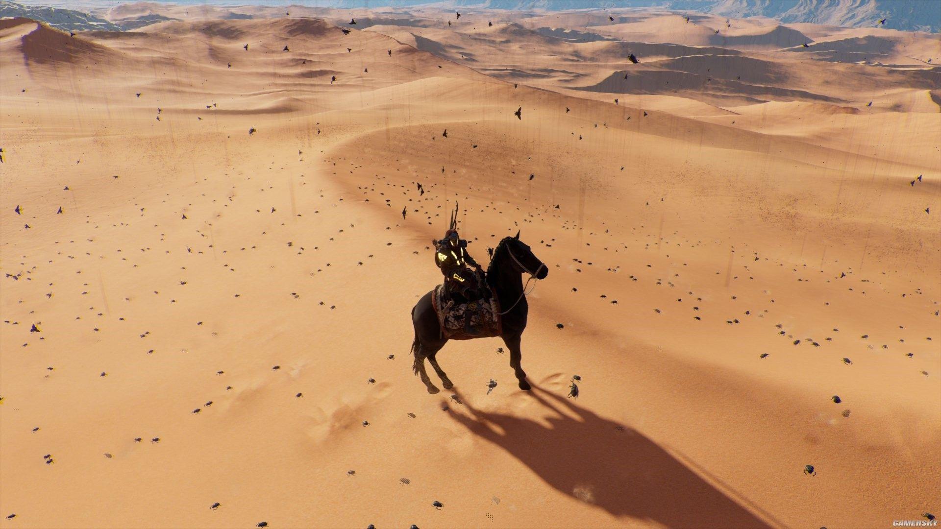 """《刺客信条:起源》里,在酷热单调的沙漠中跋涉会导致巴耶克产生各种幻觉,比如图中的""""虫雨"""""""