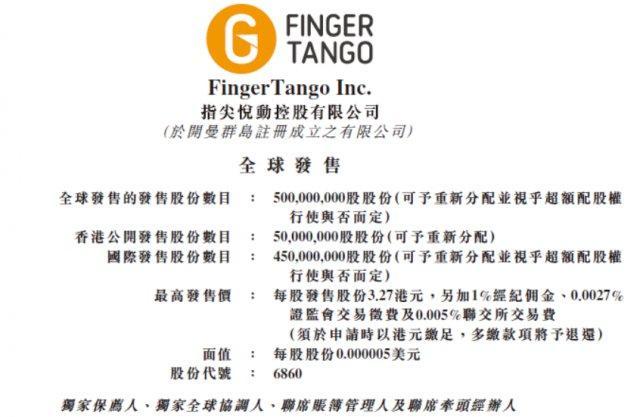 指尖悦动拟发行5亿股股份 预期7月12日在香港上市