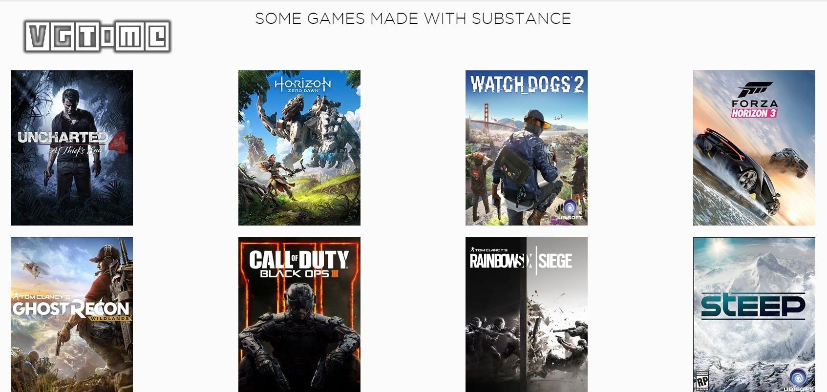 Substance公司产品参与的部分游戏项目