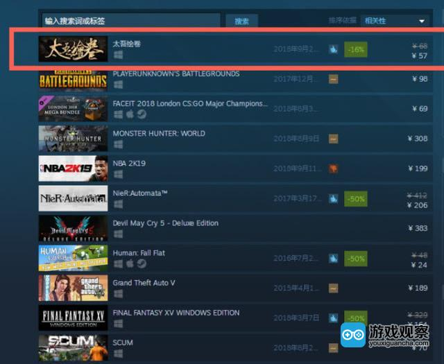 《太吾绘卷》登顶Steam周销量排行榜 已卖出40多万份