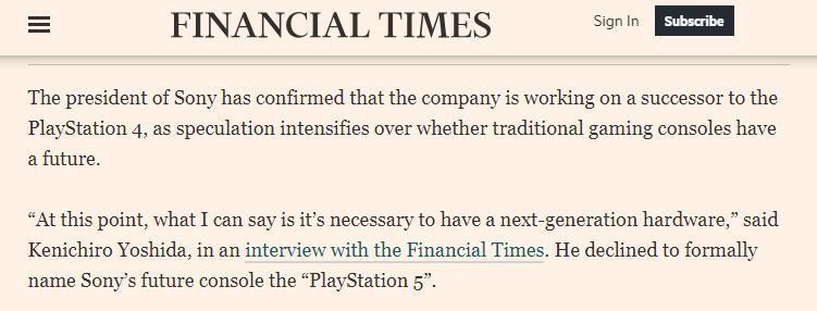 索尼总裁:正在研究下一代主机 但不一定叫PS5