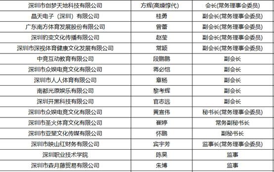 深圳市电子竞技运动协会第三届理事会当选名单