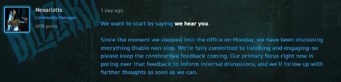 暴雪回应玩家不满暗黑手游:已了解 正在内部讨论中