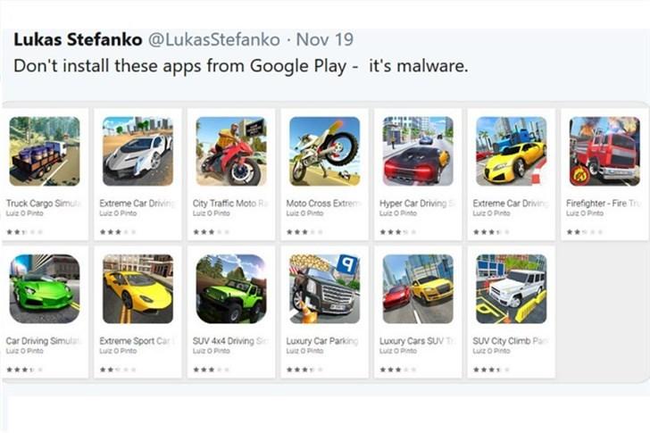 自带安装恶意软件的13款游戏遭Google Play下架
