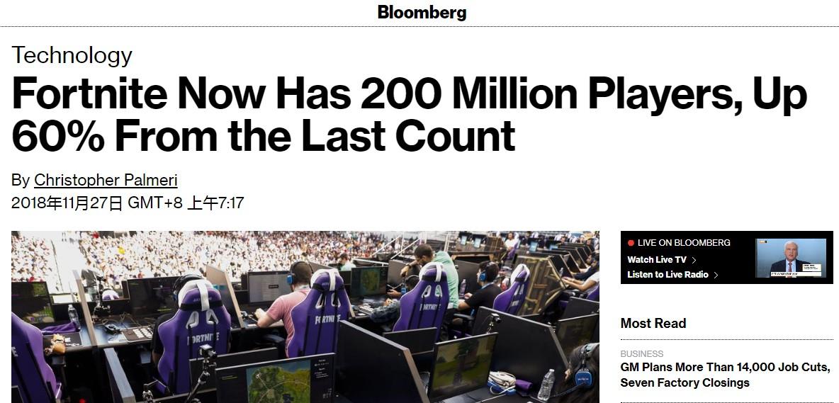 《堡垒之夜》注册用户超2亿 超越人口第六多的国家