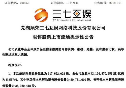 三七互娱超1.1亿股将解除限售 占总股本5.5%