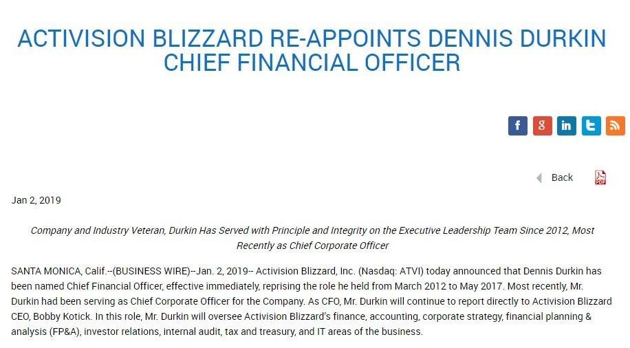 动视暴雪正式解雇上任CFO 公司老将重新回归
