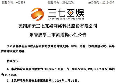 三七互娱:超3亿股解除限售股份1月14日流通上市