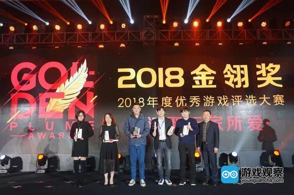 盛大游戏副总裁谭雁峰(右三)代表公司领奖