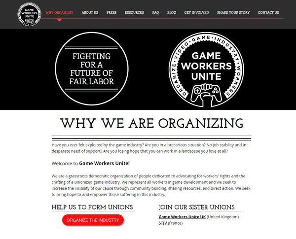 游戏工作者联合工会的网站截图