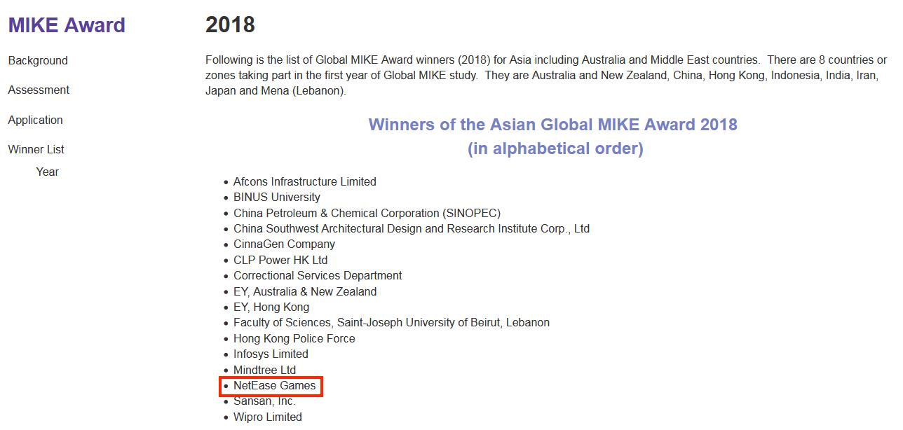 網易游戲榮膺2018全球MIKE大獎
