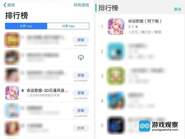 《命運歌姬》進入iOS和TAPTAP排行榜前列